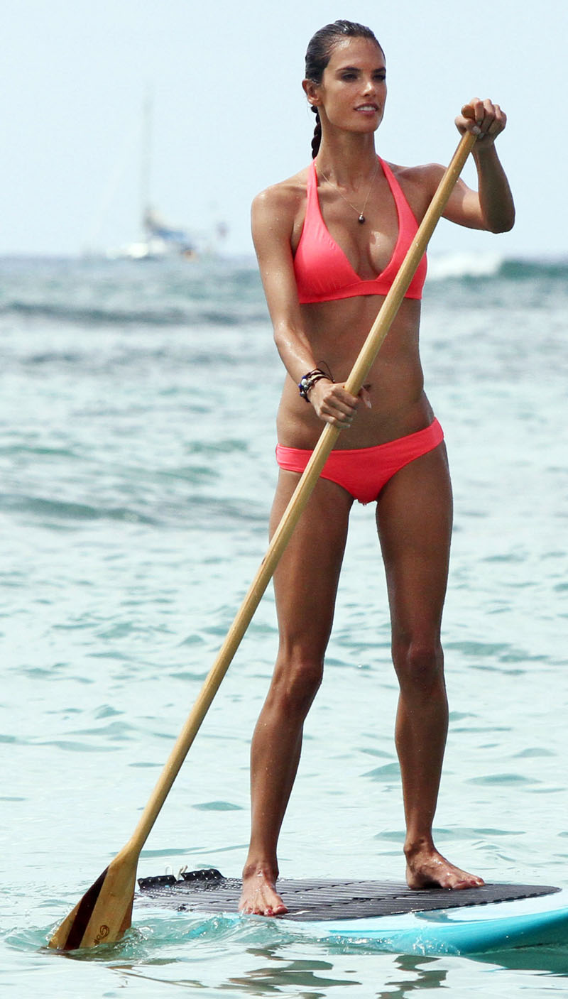 Exclusive: Alessandra Ambrosio Paddleboarding In Hawaii